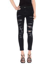 Current/Elliott - Black Denim Trousers - Lyst