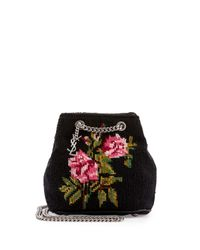 Saint Laurent - Black Emmanuelle Woven Baby Bucket Bag - Lyst