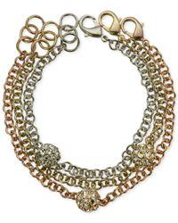 Guess | Metallic Tri-tone Crystal Fireball Link Bracelet Set | Lyst