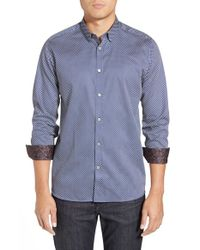 Ted Baker | Blue 'rubicks' Modern Slim Fit Print Sport Shirt for Men | Lyst