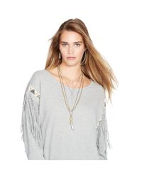 Denim & Supply Ralph Lauren - Gray Beaded-and-fringed Sweater - Lyst