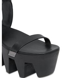 Rick Owens Black 90Mm Clog Leather Wedge Sandals