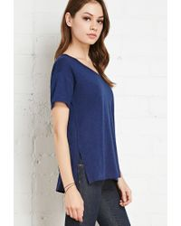Forever 21 - Blue Slub Knit Pocket Tee - Lyst