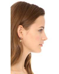 Rebecca Minkoff - Metallic Pyramid Front Back Stud Earrings - Lyst