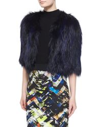 MILLY Multicolor Cropped Fur Jacket