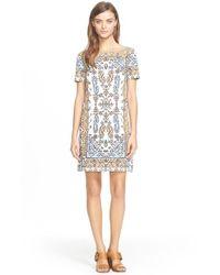 Tory Burch Natural Print Short Sleeve Dress