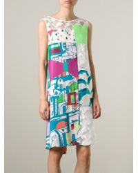 Tsumori Chisato White Greek Village Print Dress