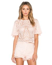 JOA Pink Lace Top