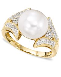 Macy's Metallic 14k Gold Cultured Freshwater Pearl & Diamond (1/16 Ct. T.w.) Ring