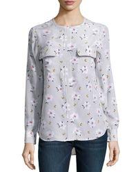 50ff2cc09b8151 Lyst - Equipment Lynn Floral Silk Blouse