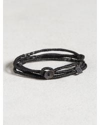 John Varvatos | Black Waxed Knotted Cord Skull Wrap Bracelet for Men | Lyst