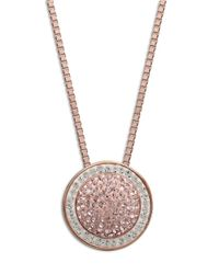 Lord & Taylor | Metallic Sterling Silver Necklace With Vintage Rose And White Pave Crystal Circle Pendant | Lyst