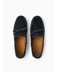 Mango Blue Suede Driving Shoes for men