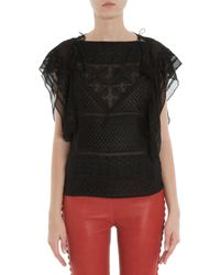 Isabel Marant - Black Allen Embroidered Silk Top - Lyst