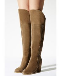 Forever 21 | Natural Sbicca Lace-up Suede Boots | Lyst