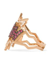 Diane Kordas - Pink Boom 18-karat Rose Gold, Diamond And Sapphire Ring - Lyst