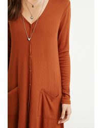 Forever 21 - Orange Longline Ribbed Cardigan - Lyst