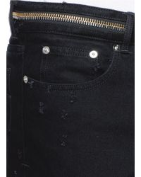Givenchy Black Zip Waist Distressed Slim Fit Jeans for men