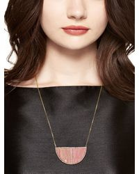 kate spade new york - Pink Sugarcoated Stone Long Pendant - Lyst