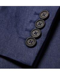 Burberry Prorsum Blue Slim-Fit Linen Overcoat for men