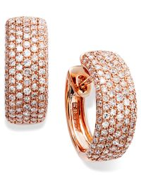 Effy Collection - Pink Trio By Effy Pave Diamond Hoop Earrings (7/8 Ct. T.w.) In 14k Yellow, Rose Or White Gold - Lyst