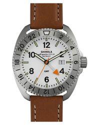 Shinola - White 'rambler' Dual Time Leather Strap Watch for Men - Lyst