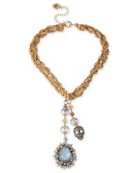 Betsey Johnson - Metallic Two-Tone Cabochon And Skull Charm Y Necklace - Lyst