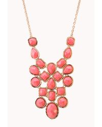 Forever 21 - Red Faceted Faux Stone Bib Necklace - Lyst