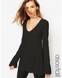 ASOS - Black Tall Clean Tunic With Long Sleeves And V Neck - Lyst