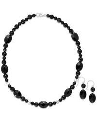 Macy's | Black Onyx Bead Jewelry Set In Sterling Silver (180-1/2 Ct. T.w.) | Lyst