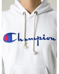 Champion White Logo Hoodie for men