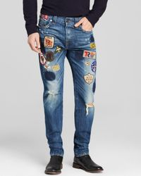 True Religion Blue Jeans - Dean Well Traveled Patchwork New Tapered Fit In Fearless Wanderer for men