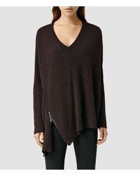 AllSaints | Purple Able Zip Sweater | Lyst