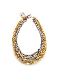 Giles & Brother | Metallic Two-tone Pave Multi-chain Necklace | Lyst