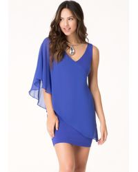 Bebe | Blue Asymmetric Flutter Sleeve Dress | Lyst