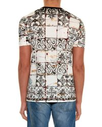 Dolce & Gabbana White Abstract Tile and Bull-Print Cotton T-Shirt for men