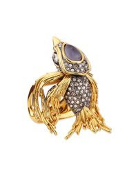 Alexis Bittar Metallic Starling Bird Ring with Labradorite and Crystals