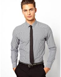 ASOS - White Smart Shirt In Long Sleeve With Mini Gingham Check for Men - Lyst