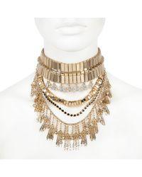 River Island - Metallic Gold Tone Chunky Statement Choker Necklace - Lyst