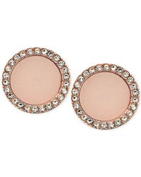 Michael Kors - Pink Rose Gold-tone Disc Stud Earrings - Lyst