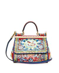 Dolce & Gabbana | Red Sicily Small Carretto-Print Shoulder Bag | Lyst