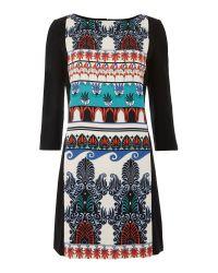 Tara Jarmon Black Printed Crepe Mini Dress