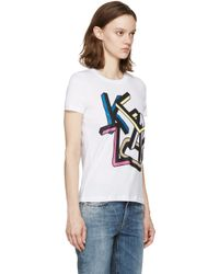 KENZO - White And Multicolor Logo T-shirt - Lyst