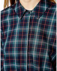 ASOS | Blue Shirt in Classic Tartan Check | Lyst