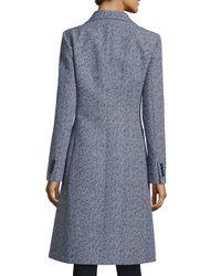 Michael Kors - Blue Long-sleeve Tweed Reefer Jacket - Lyst