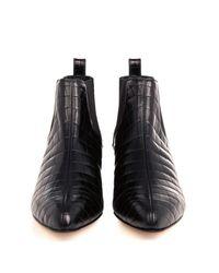 Max Mara Black Albino Croc-Embossed Leather Boots