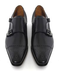 Saks Fifth Avenue | Black Double Monk Strap Leather Shoes for Men | Lyst