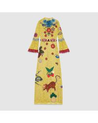 Gucci Multicolor Lace Embroidered Gown