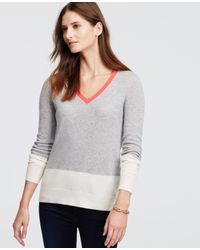 Ann Taylor | Gray Petite Colorblock Cashmere V-neck Sweater | Lyst