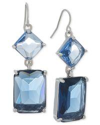 Carolee - Silver-Tone Blue Geometric Crystal Double Drop Earrings - Lyst
